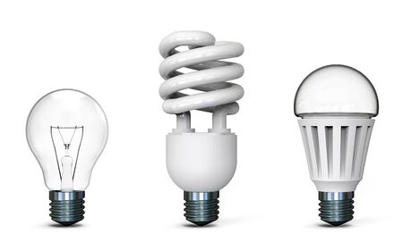 led lighting: Different light bulbs on white background 3D rendering Stock Photo