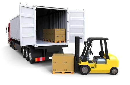 Forklift truck loading a long truck on white background 3D rendering