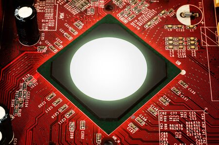 electronic background: Electronic circuit plate background red Stock Photo