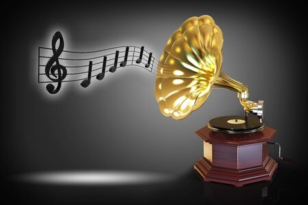 Old gramophone with musical notes 3D rendering Stock Photo