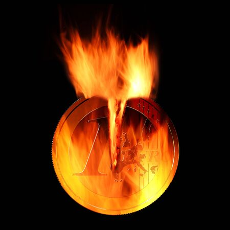Burning euro coin isolated on black background 3D rendering
