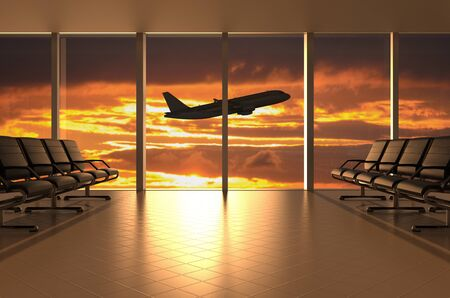 Airport waiting room with airplane and sunset, 3D rendering Stock Photo