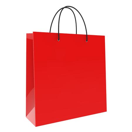 白い背景の 3 D レンダリングで隔離赤いショッピング バッグ