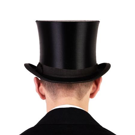 Mannen met zwarte bovenhoed achteraanzicht geïsoleerd op een witte achtergrond Stockfoto