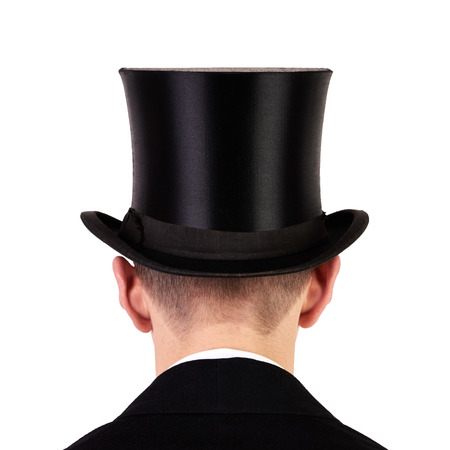 Men with black top hat back view isolated on white background