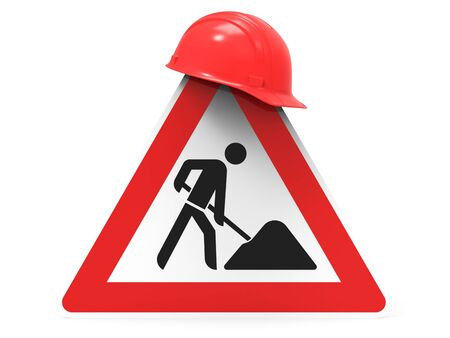 Under construction, road sign and safety helmet, isolated on white background 3D rendering