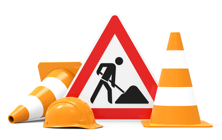 Under construction, road sign, traffic cones and safety helmet, isolated on white background 3D rendering