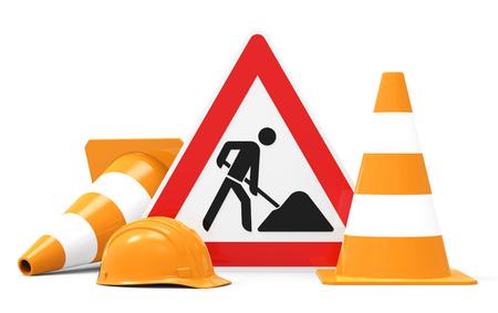Under construction, verkeersteken, verkeerskegels en helm, op een witte achtergrond 3D-weergave