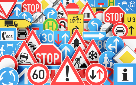 Background with many traffic signs 3D rendering Archivio Fotografico