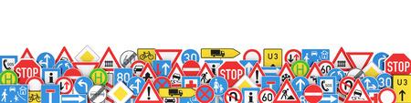 Molti diversi segni di traffico isolati su sfondo bianco Rendering 3D