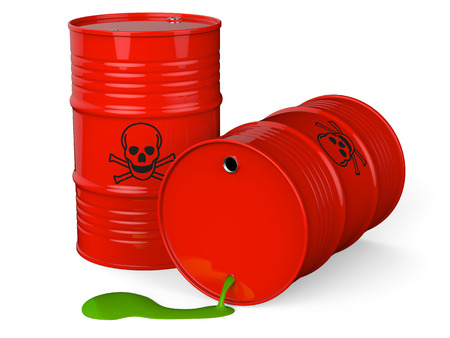 Spilled red barrels with toxic waste isolated on white background 3D rendering