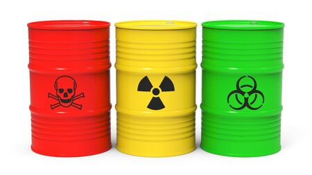 Different barrels with toxic waste isolated on white background 3D rendering Stock Photo