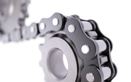 Chain with gear isolated on white background 3D rendering