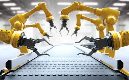 Industrial robotic arms with empty conveyor belt 3D rendering