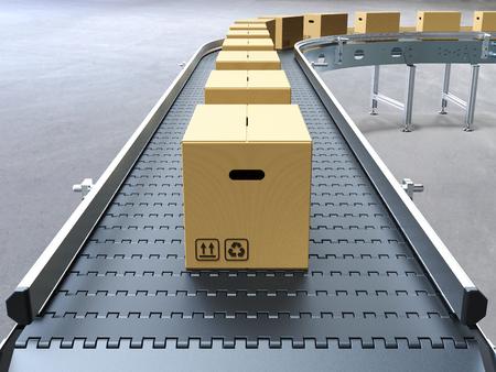 コンベア ベルトの 3 D レンダリングの段ボール箱