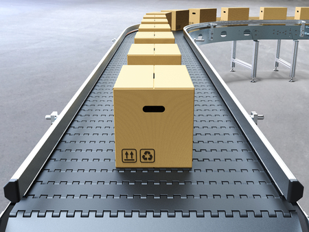 Cardboard boxes on conveyor belt 3D rendering 스톡 콘텐츠