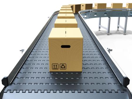 Cardboard boxes on conveyor belt white background 3D rendering
