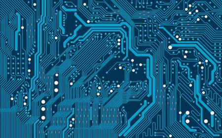 Vector azul fondo de placa de circuito electrónico