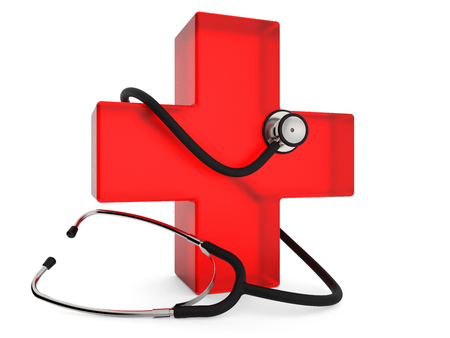 Red cross with stethoscope isolated on white background 3D rendering