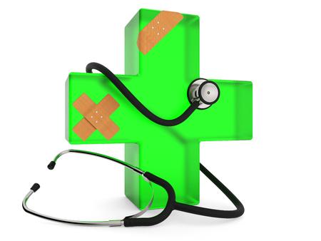 Grünes Kreuz mit dem Stethoskop und Pflaster lokalisiert auf weißer Wiedergabe des Hintergrundes 3D Standard-Bild - 82242884