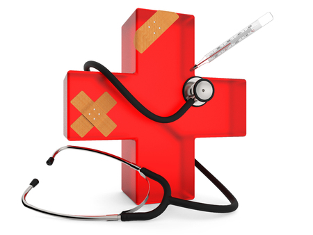 Red cross with stethoscope, plaster and thermometer isolated on white background 3D rendering Stock Photo