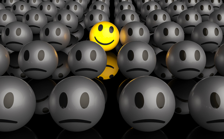 One is different, a yellow smiley is smiling in a crowd of unhappy smileys, 3D rendering Zdjęcie Seryjne - 87256920