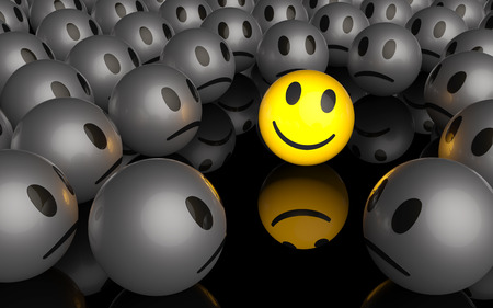 One is different, a yellow smiley is smiling in a crowd of unhappy smileys, 3D rendering
