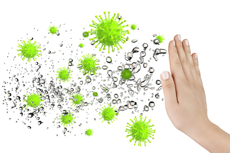 Hand defending some virus and bacteria, 3D rendering