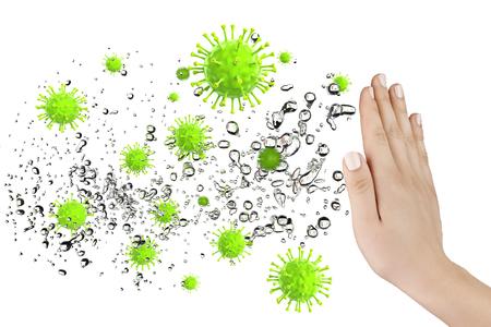 Hand verteidigen einige Viren und Bakterien, 3D-Rendering