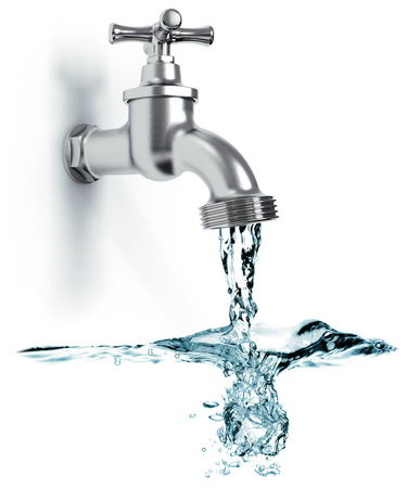 Faucet with flowing water and waves isolated on white background 3D rendering