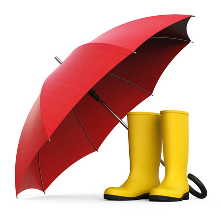 A pair of yellow rain boots and a red umbrella isolated on white background 3D rendering Stock Photo