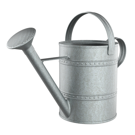 Zinc watering can isolated on white background 3D rendering