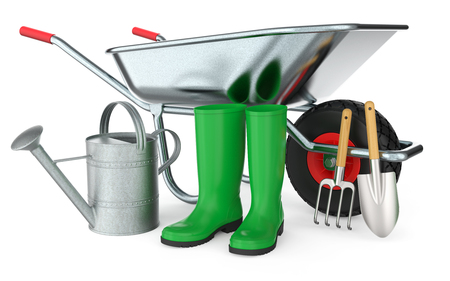 Wheelbarrow with boots, watering can, shovel and hoe, isolated on white background 3D rendering