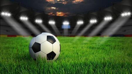 Ball on gras in soccer stadium with illumination at night, 3D rendering