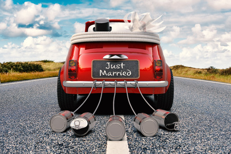 A newlywed couple is driving a retro car with just married sign and cans rear view 3D rendering