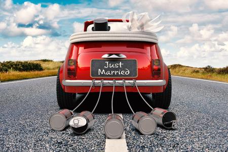 Ein Jungvermähltenpaar fährt ein Retro- Auto mit gerade verheirateter Wiedergabe der hinteren Ansicht 3D des Zeichens und der Dosen
