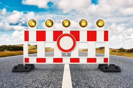 Road closed, Street barrier on the road 3D rendering Stock Photo