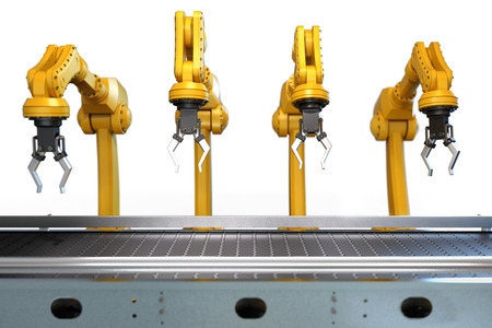 Industrial robotic arm with empty conveyor belt isolated on white background, 3D rendering Stok Fotoğraf