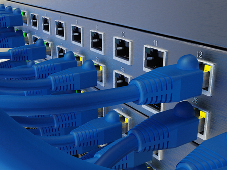 Network server panel, switch and patch cable in data center, 3D rendering