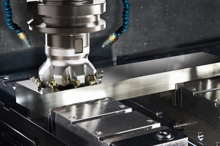 Industrial metalworking cutting process by milling cutter, 3D rendering Stok Fotoğraf