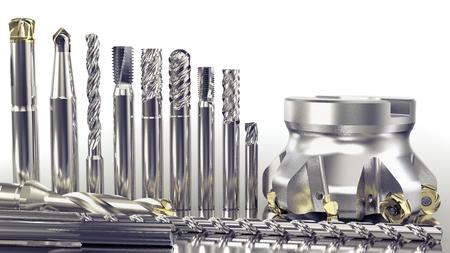 Strumenti industriali per la lavorazione dei metalli, diversi utensili per fresa su sfondo bianco, rendering 3D