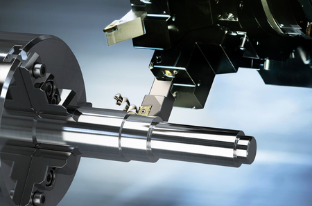 Industrial metalworking cutting process by CNC lathe machine, 3D rendering Stok Fotoğraf