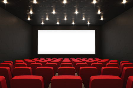 Empty cinema hall with blank screen and red seats, 3D rendering