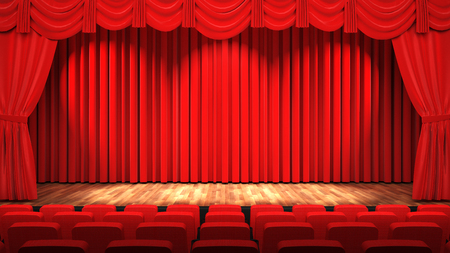 Empty theatre hall with stage, red curtain and seats, 3D rendering