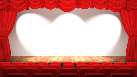 Empty theatre hall with stage, red curtain and seats, 3D rendering Stockfoto
