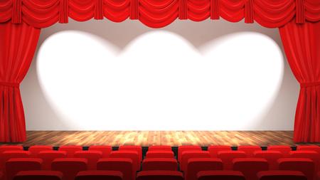 Sala teatrale vuota con palcoscenico, tenda rossa e sedili, rendering 3D Archivio Fotografico