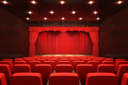 Leerer Theatersaal mit Bühne, rotem Vorhang und Sitzen, 3D-Rendering
