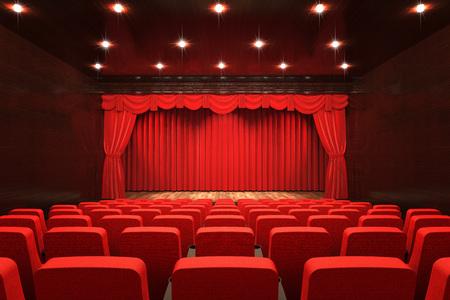 Lege theaterzaal met podium, rood gordijn en stoelen, 3D-rendering