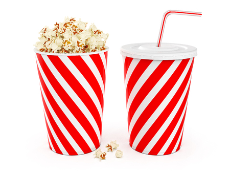 Popcorn in striped bucket with cola in takeaway cup isolated on white background, 3D rendering