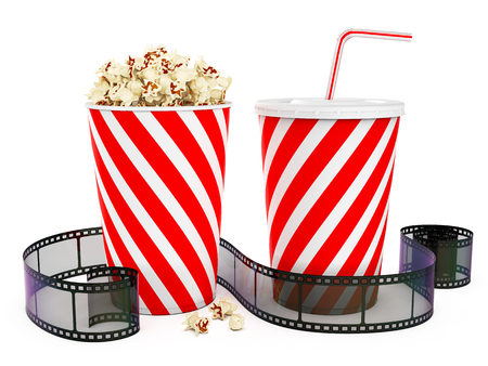 Popcorn in striped bucket with cola in takeaway cup and film reel isolated on white background, 3D rendering